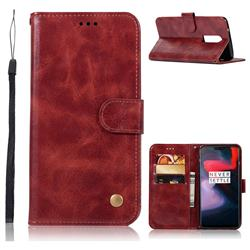Luxury Retro Leather Wallet Case for OnePlus 6 - Wine Red