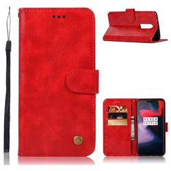 Luxury Retro Leather Wallet Case for OnePlus 6 - Red