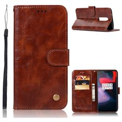 Luxury Retro Leather Wallet Case for OnePlus 6 - Brown