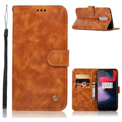Luxury Retro Leather Wallet Case for OnePlus 6 - Golden