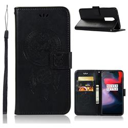 Intricate Embossing Owl Campanula Leather Wallet Case for OnePlus 6 - Black