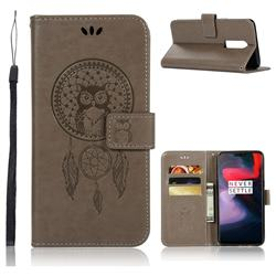Intricate Embossing Owl Campanula Leather Wallet Case for OnePlus 6 - Grey