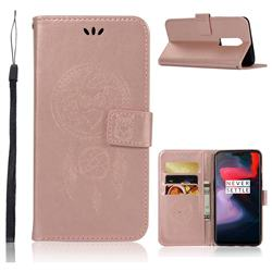 Intricate Embossing Owl Campanula Leather Wallet Case for OnePlus 6 - Rose Gold