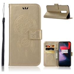 Intricate Embossing Owl Campanula Leather Wallet Case for OnePlus 6 - Champagne