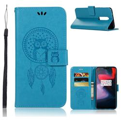 Intricate Embossing Owl Campanula Leather Wallet Case for OnePlus 6 - Blue