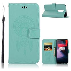 Intricate Embossing Owl Campanula Leather Wallet Case for OnePlus 6 - Green