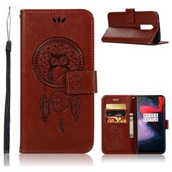 Intricate Embossing Owl Campanula Leather Wallet Case for OnePlus 6 - Brown