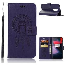 Intricate Embossing Owl Campanula Leather Wallet Case for OnePlus 6 - Purple