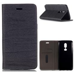 Tree Bark Pattern Automatic suction Leather Wallet Case for OnePlus 6 - Gray