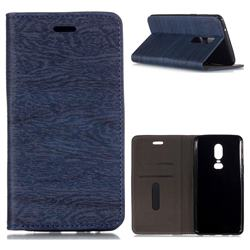 Tree Bark Pattern Automatic suction Leather Wallet Case for OnePlus 6 - Blue