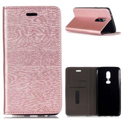 Tree Bark Pattern Automatic suction Leather Wallet Case for OnePlus 6 - Rose Gold