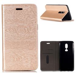 Tree Bark Pattern Automatic suction Leather Wallet Case for OnePlus 6 - Champagne Gold