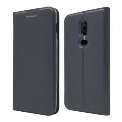 Ultra Slim Card Magnetic Automatic Suction Leather Wallet Case for OnePlus 6 - Star Grey