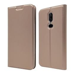 Ultra Slim Card Magnetic Automatic Suction Leather Wallet Case for OnePlus 6 - Rose Gold