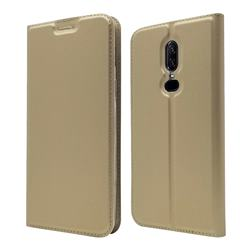Ultra Slim Card Magnetic Automatic Suction Leather Wallet Case for OnePlus 6 - Champagne