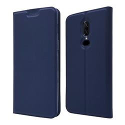 Ultra Slim Card Magnetic Automatic Suction Leather Wallet Case for OnePlus 6 - Royal Blue