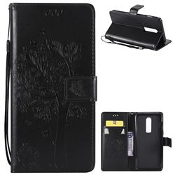 Embossing Butterfly Tree Leather Wallet Case for OnePlus 6 - Black