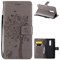 Embossing Butterfly Tree Leather Wallet Case for OnePlus 6 - Grey