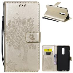 Embossing Butterfly Tree Leather Wallet Case for OnePlus 6 - Champagne