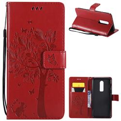 Embossing Butterfly Tree Leather Wallet Case for OnePlus 6 - Red