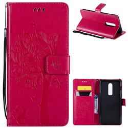 Embossing Butterfly Tree Leather Wallet Case for OnePlus 6 - Rose
