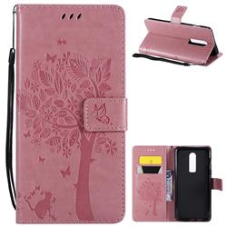 Embossing Butterfly Tree Leather Wallet Case for OnePlus 6 - Pink