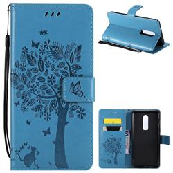 Embossing Butterfly Tree Leather Wallet Case for OnePlus 6 - Blue