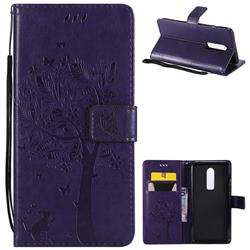 Embossing Butterfly Tree Leather Wallet Case for OnePlus 6 - Purple