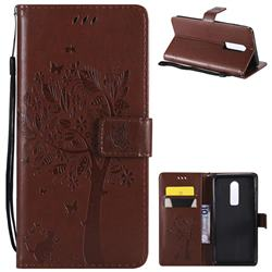 Embossing Butterfly Tree Leather Wallet Case for OnePlus 6 - Brown