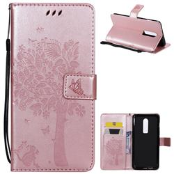 Embossing Butterfly Tree Leather Wallet Case for OnePlus 6 - Rose Pink
