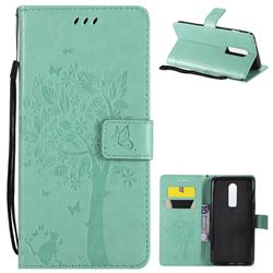 Embossing Butterfly Tree Leather Wallet Case for OnePlus 6 - Cyan