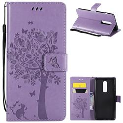 Embossing Butterfly Tree Leather Wallet Case for OnePlus 6 - Violet