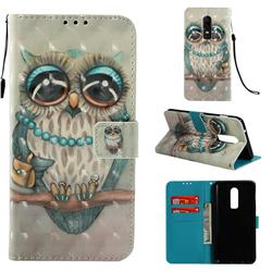 Sweet Gray Owl 3D Painted Leather Wallet Case for OnePlus 6