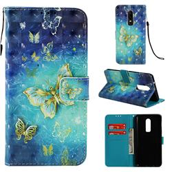 Gold Butterfly 3D Painted Leather Wallet Case for OnePlus 6