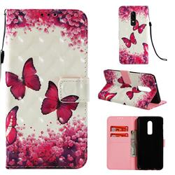 Rose Butterfly 3D Painted Leather Wallet Case for OnePlus 6