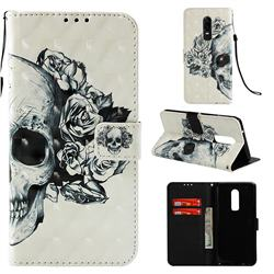 Skull Flower 3D Painted Leather Wallet Case for OnePlus 6