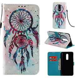 ColorDrops Wind Chimes 3D Painted Leather Wallet Case for OnePlus 6