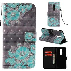 Blue Flower 3D Painted Leather Wallet Case for OnePlus 6