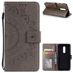 Intricate Embossing Datura Leather Wallet Case for OnePlus 6 - Gray