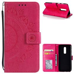 Intricate Embossing Datura Leather Wallet Case for OnePlus 6 - Rose Red