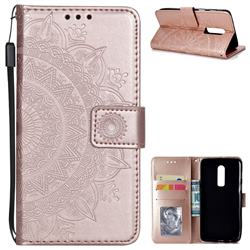 Intricate Embossing Datura Leather Wallet Case for OnePlus 6 - Rose Gold