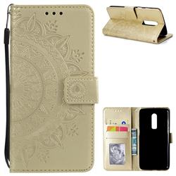 Intricate Embossing Datura Leather Wallet Case for OnePlus 6 - Golden