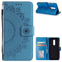 Intricate Embossing Datura Leather Wallet Case for OnePlus 6 - Blue