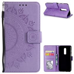 Intricate Embossing Datura Leather Wallet Case for OnePlus 6 - Purple