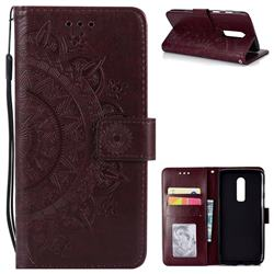 Intricate Embossing Datura Leather Wallet Case for OnePlus 6 - Brown