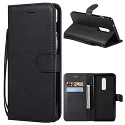 Retro Greek Classic Smooth PU Leather Wallet Phone Case for OnePlus 6 - Black