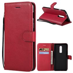 Retro Greek Classic Smooth PU Leather Wallet Phone Case for OnePlus 6 - Red