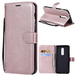Retro Greek Classic Smooth PU Leather Wallet Phone Case for OnePlus 6 - Rose Gold