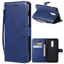 Retro Greek Classic Smooth PU Leather Wallet Phone Case for OnePlus 6 - Blue