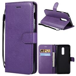 Retro Greek Classic Smooth PU Leather Wallet Phone Case for OnePlus 6 - Purple